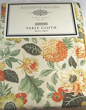 Raymond Waites 60u0026quot; X 102u0026quot; Yellow Orange Floral Pattern Tablecloth
