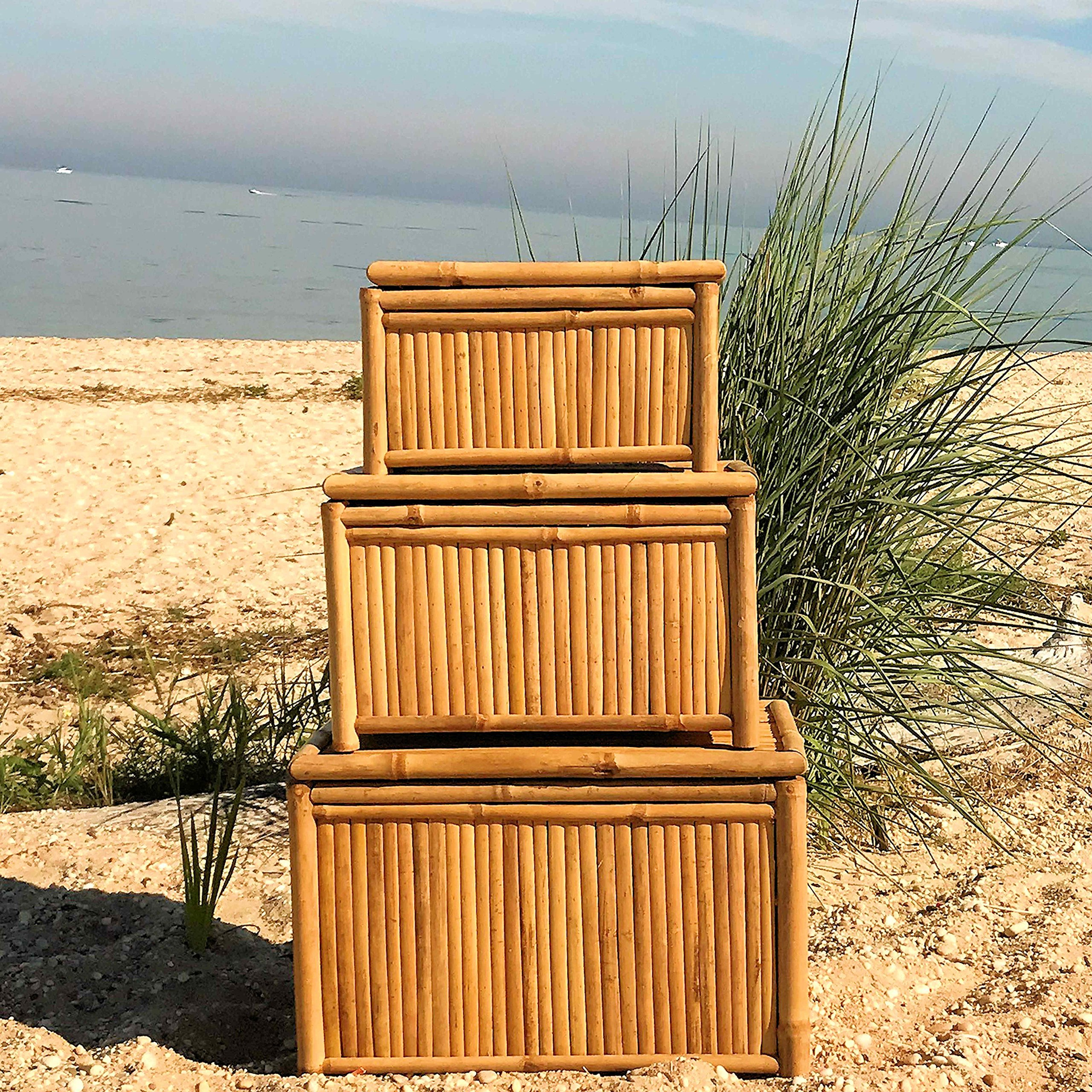 The Key West Trunk, Vintage Island Style, Natural Bamboo, Storage and Blanket Chests, Set of 3, Various Sizes, Hinged Tops, By Whole House Worlds