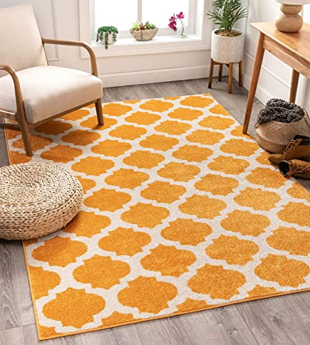 Well Woven Tinsley Trellis Orange Ivory Moroccan Lattice Modern Geometric Pattern 5×7 5 x 7 Area Rug Soft Shed Free Easy to Clean Stain Resistant