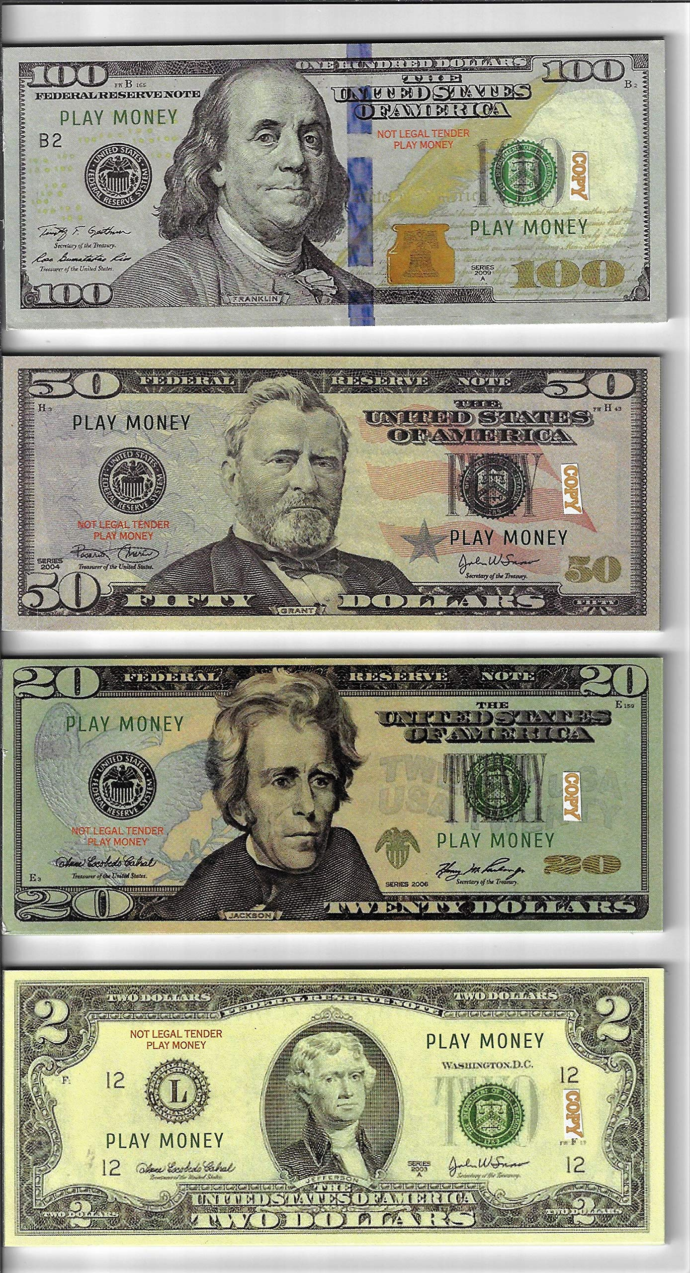 20X $100/50/20/2 BILLS PROP MONEY/FAKE/PLAY. NOT LEGAL TENDER size 2.3x5.5 in. ONE SIDE ONLY