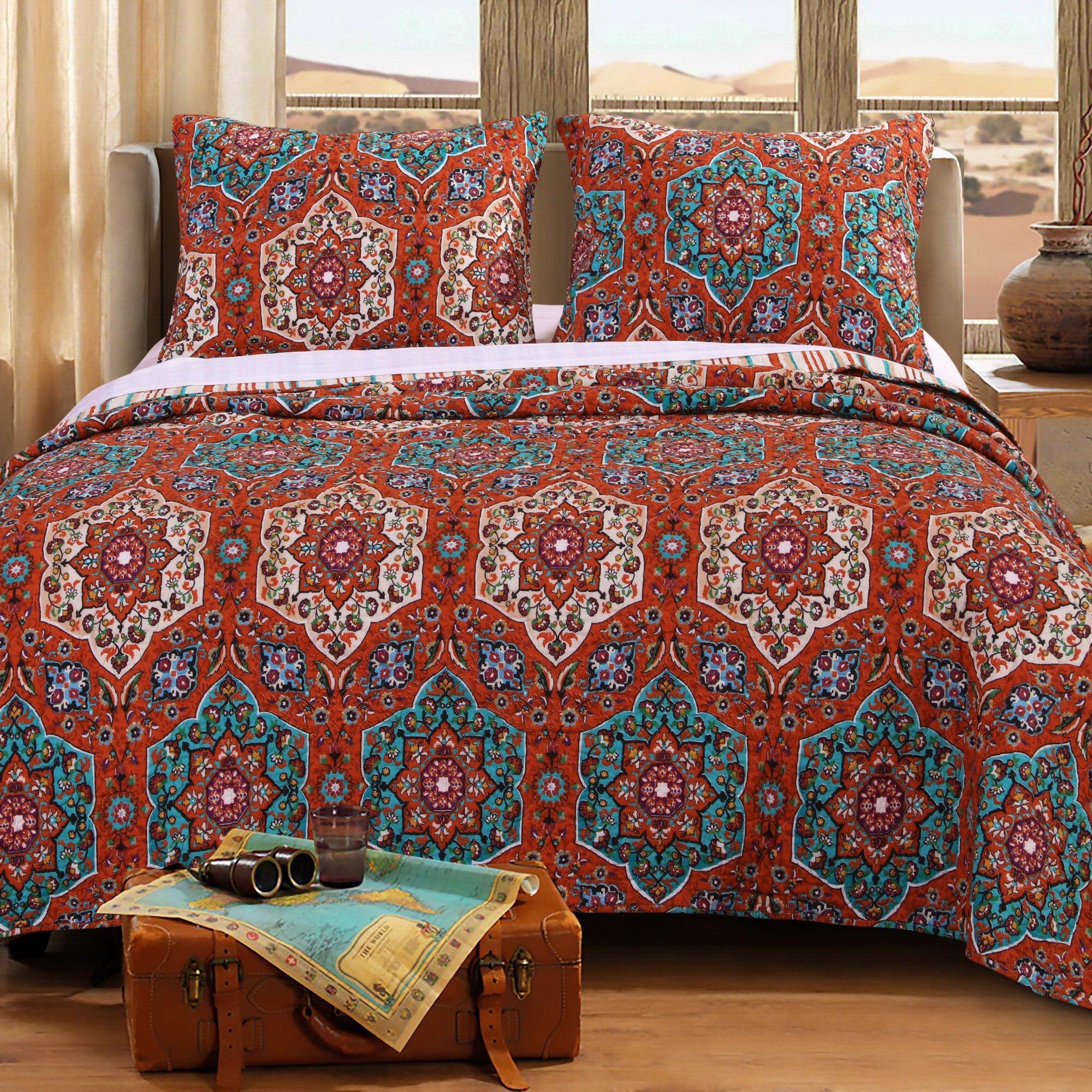 Quilt Set with Shams 3 Piece Bohemian Boho Chic Geometric Medallion Mandala Floral Design Blue Orange Neutral Bedding Luxury Reversible Bedspread Oversized King/Cal King - Includes Bed Sheet Straps