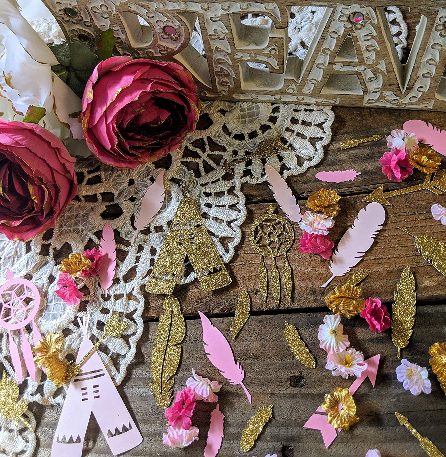 Boho Party Decorations, Boho Baby Shower Decorations for Girl, Dream Catcher Baby Shower, Tribal Baby Shower, Pink And Gold Party Decor