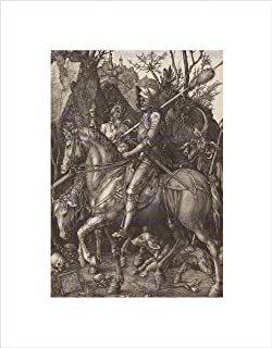 KNIGHT IN ARMOR ON HORSE PASSING DEATH /& DEVIL PAINTING REAL CANVASART PRINT