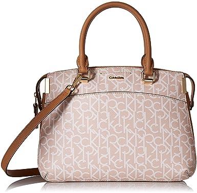 2b553d4bcf1d17 Amazon.com: Calvin Klein womens Calvin Klein Raelynn Monogram Satchel,  desert taupe, One Size: Clothing