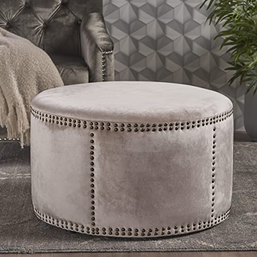 Christopher Knight Home Jesper Studded Champagne Velvet Ottoman