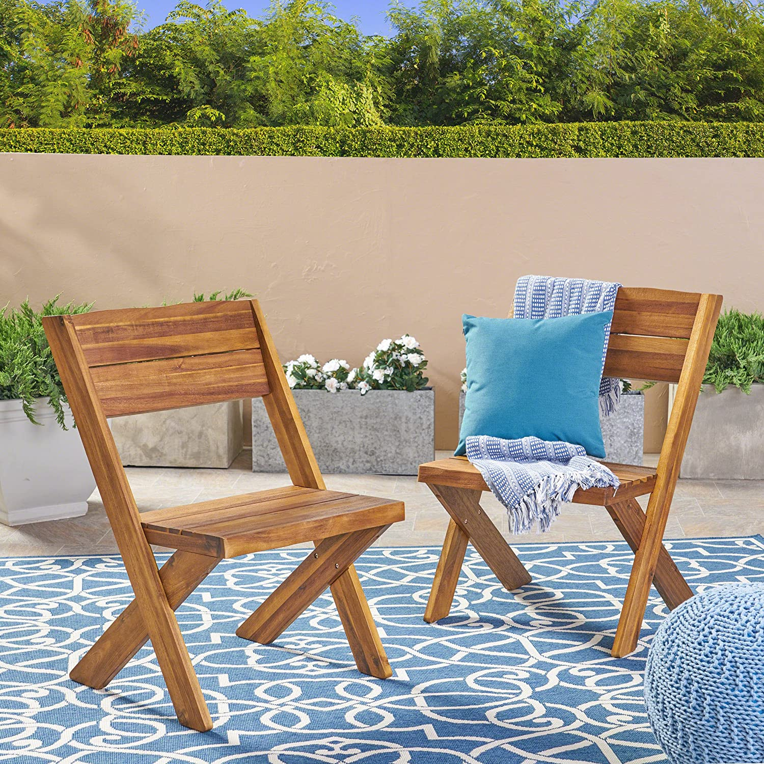 Christopher Knight Home 304408 Irene Outdoor Acacia Wood Chairs Set of 2 , Teak, Sandblast Finish