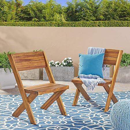 Great Deal Furniture 304408 Irene Outdoor Acacia Wood Chairs Set of 2 , Teak, Sandblast Finish
