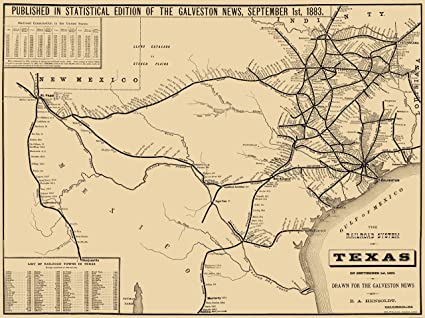 Map Of Texas Railroads.Amazon Com Old Railroad Map Texas Railroad System Hensoldt 1883