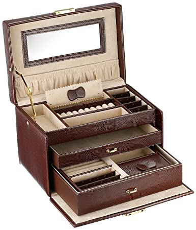 Amazoncom Jewelry Box Genuine Leather Large With Matching Travel