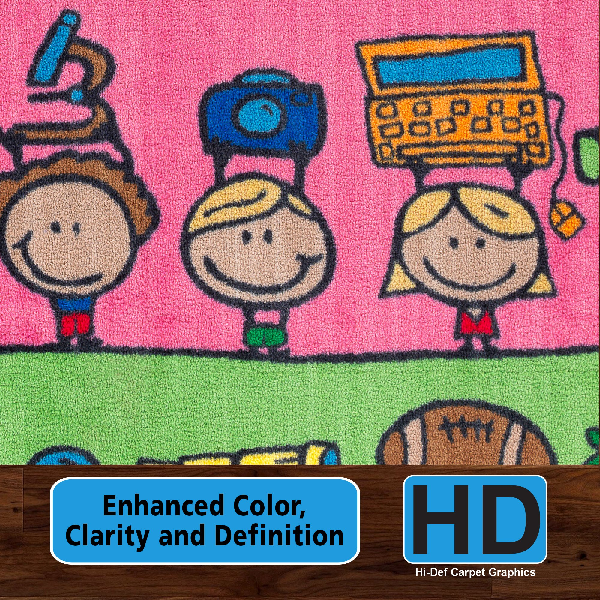 Flagship Carpets CE190-28W Fun at School Rug, Explore Health and Wellness As Well As STEAM Subjects, Children's Classroom Educational Carpet, 5' x 8', 60'' Length, 96'' Width, Multi-Color by Flagship Carpets (Image #3)