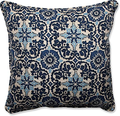 Pillow Perfect Outdoor Indoor Basalto Navy Floor Pillow, 25 x 25 , Blue