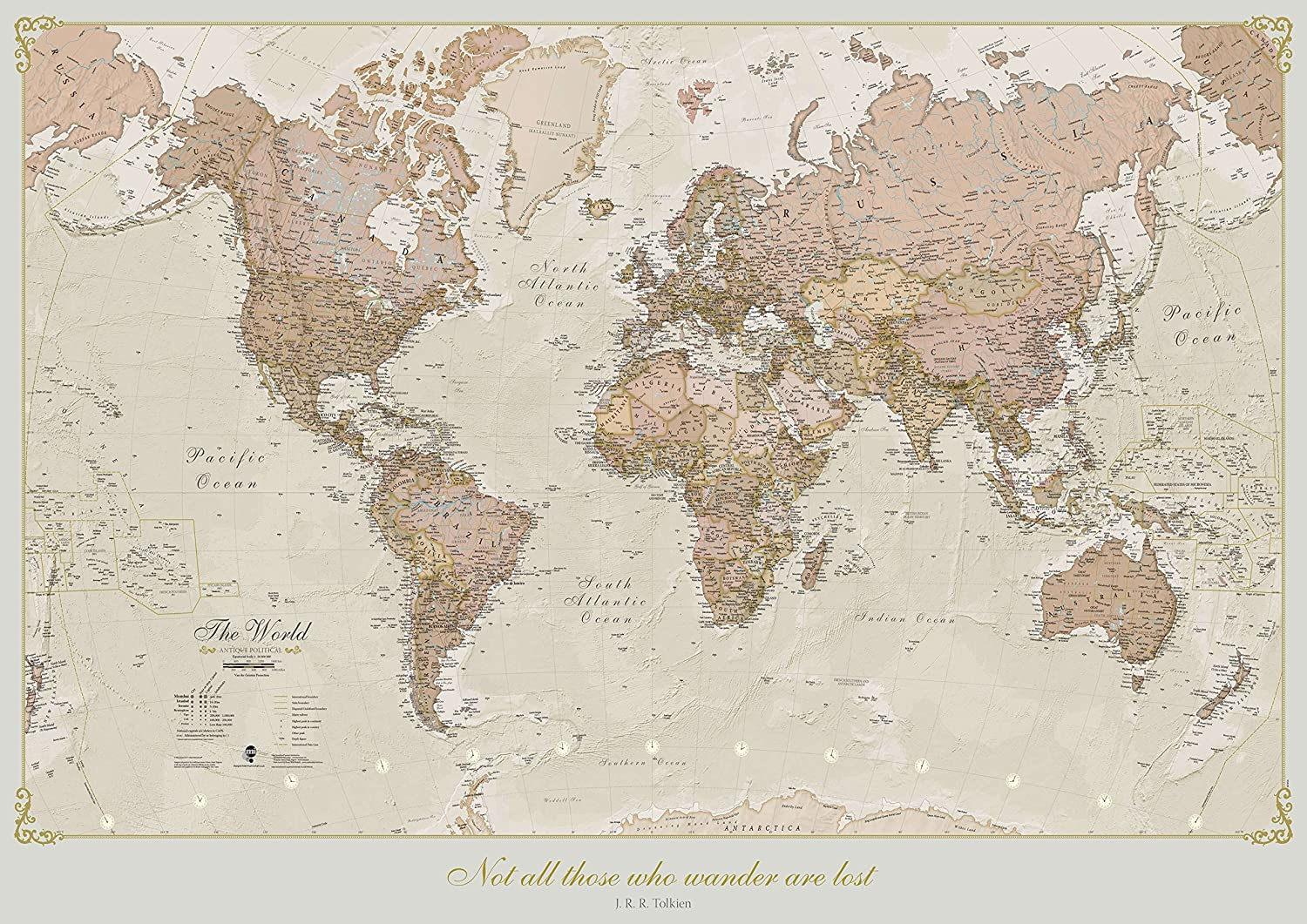 A1 A2 A4 sizes A0 World Map Names Colour Art Poster A3