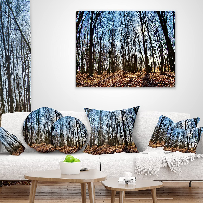 Designart CU13998-16-16 Dark Trees Sunrise Forest Cushion Cover for Living Room Sofa Throw Pillow 16 x 16
