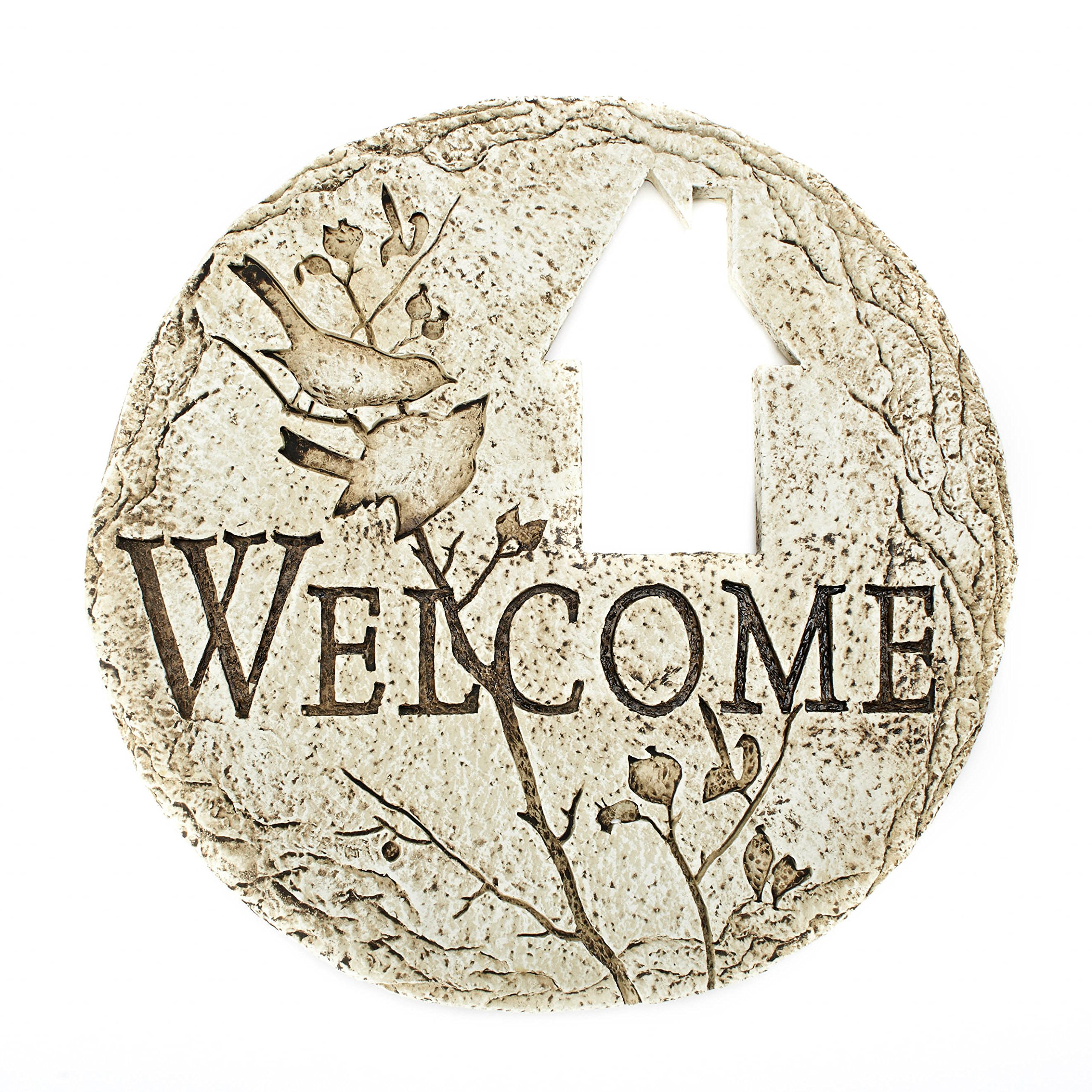 Roman Country Cottage Cut-Out Welcome Decorative Patio Garden Stone, 12-Inch