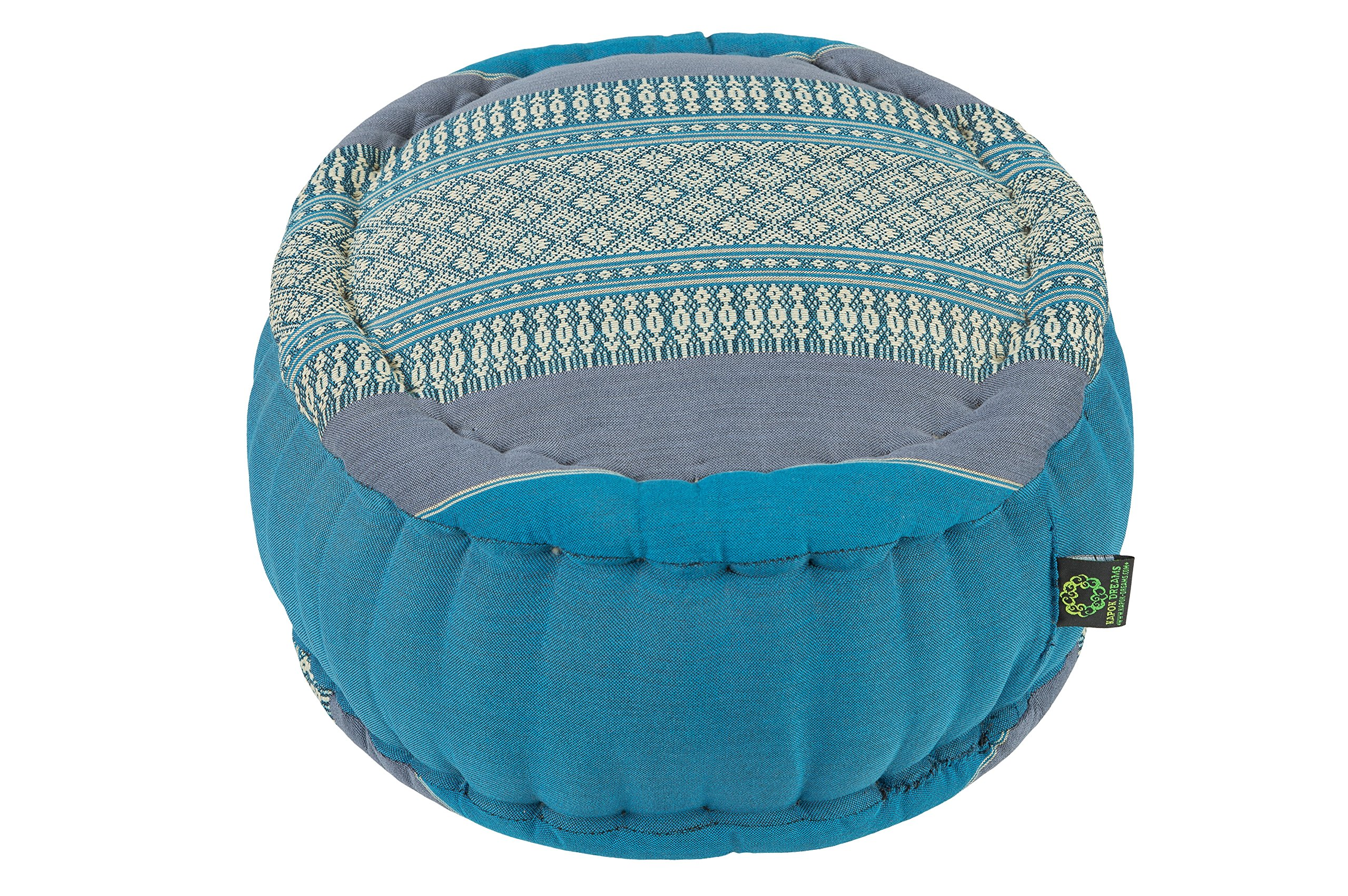 Kapok Dreams; Zafu Round Meditation Cushion 100% Kapok, Blue Tones, Thai Design Pillow