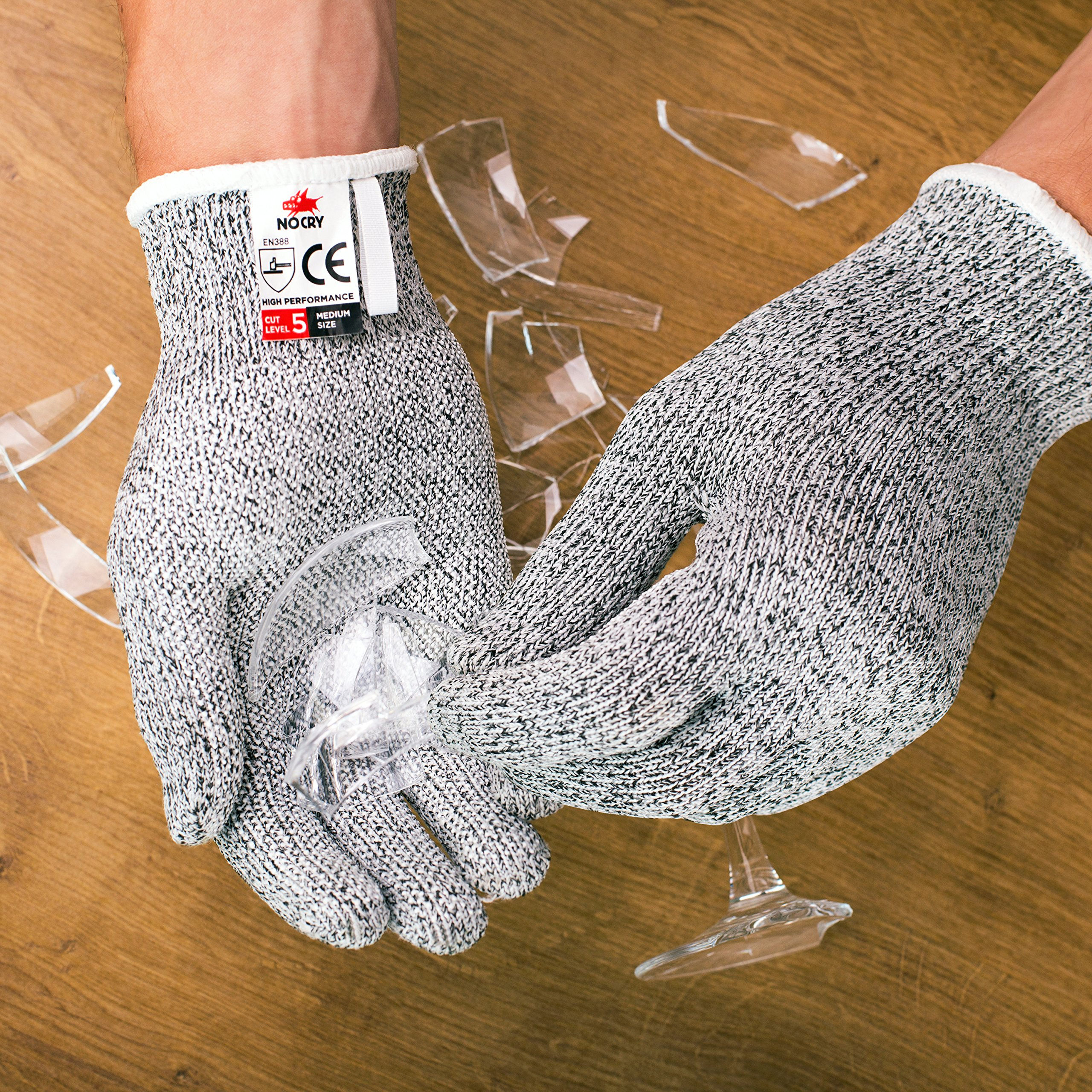 NoCry Cut Resistant Gloves with Grip Dots - High Performance Level 5 Protection, Food Grade. Size Large, Free Ebook Included! by NoCry (Image #5)