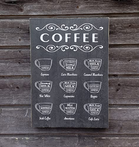Coffee Sign  Wood Wall Decor  Coffee Menu AmazonCoUk Handmade