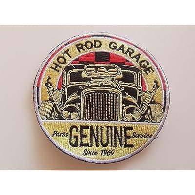 # 120 Aiguilles de Garage d'origine Hot Rod Garage Taille env. 10, 5 x 10, 5 cm. Entièrement brodé. Patch APLICATION ECCUSON Hot Rod!