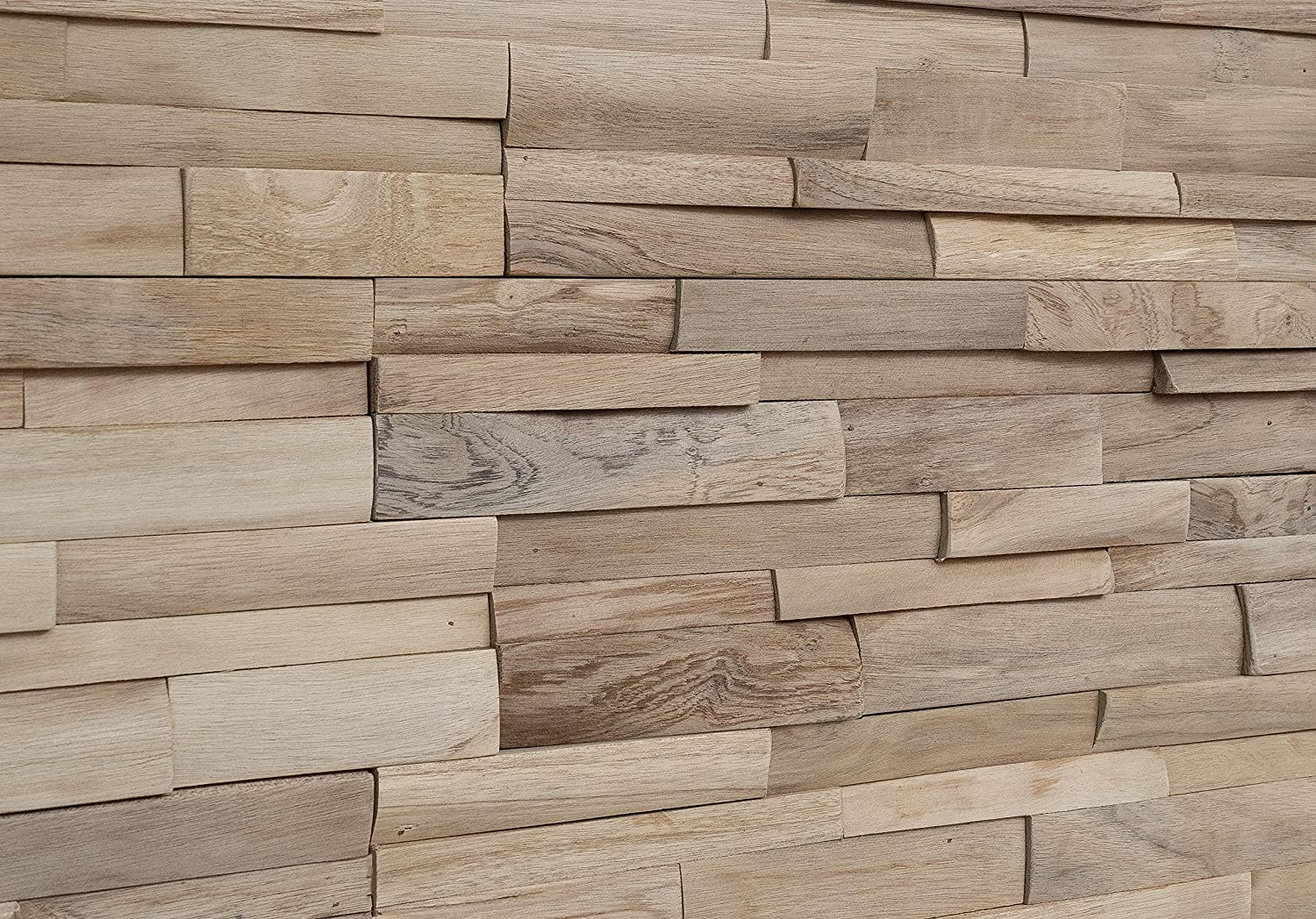 WoodyWalls 3D Wall Panels   Wood Planks are Made from 100% Teak   Each Wood Panel is Handmade and Unique   Premium Set of 10 3D Wall Decor Panels   DIY Wood Panels (9.5 sq.ft. per Box) Ivory