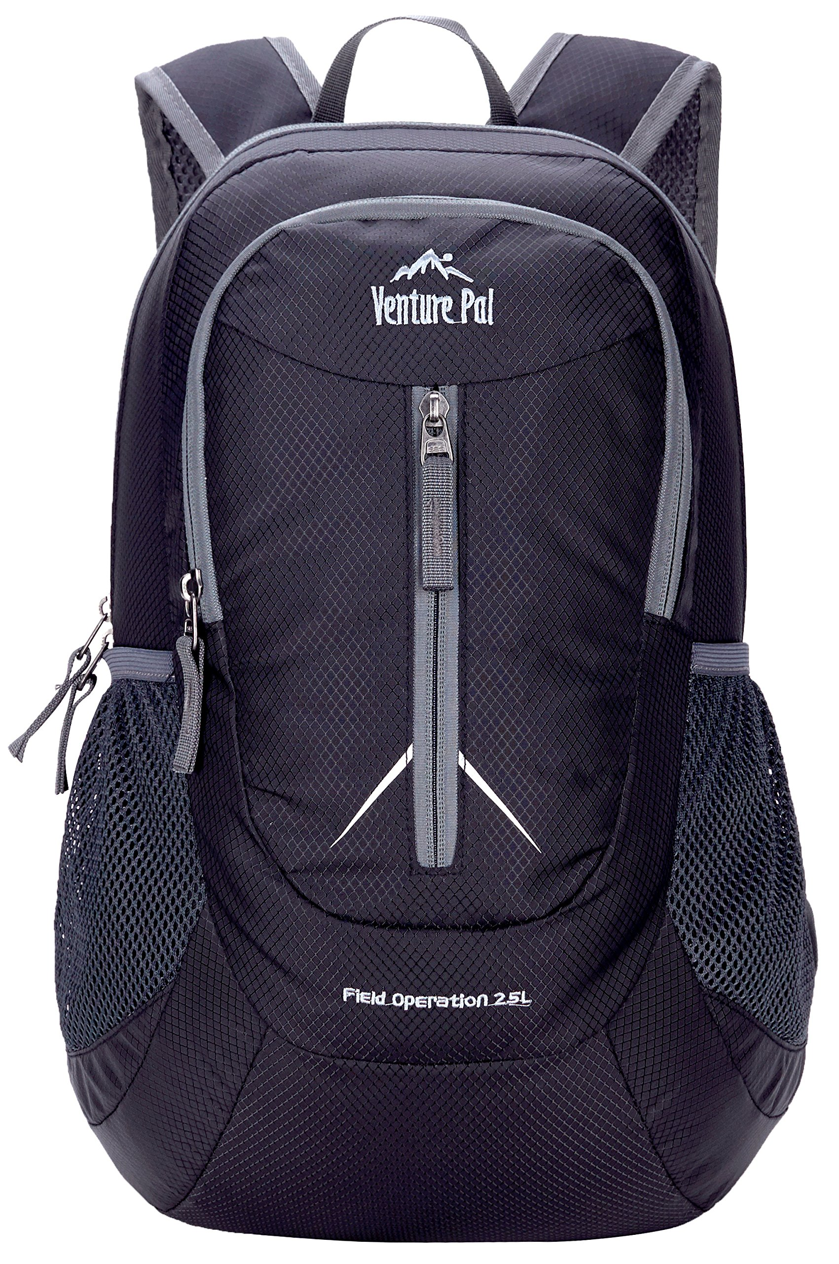 Venture Pal 25L - Durable Packable Lightweight Travel Hiking Backpack Daypack Small Bag for Men Women Kids (Black) by Venture Pal (Image #2)