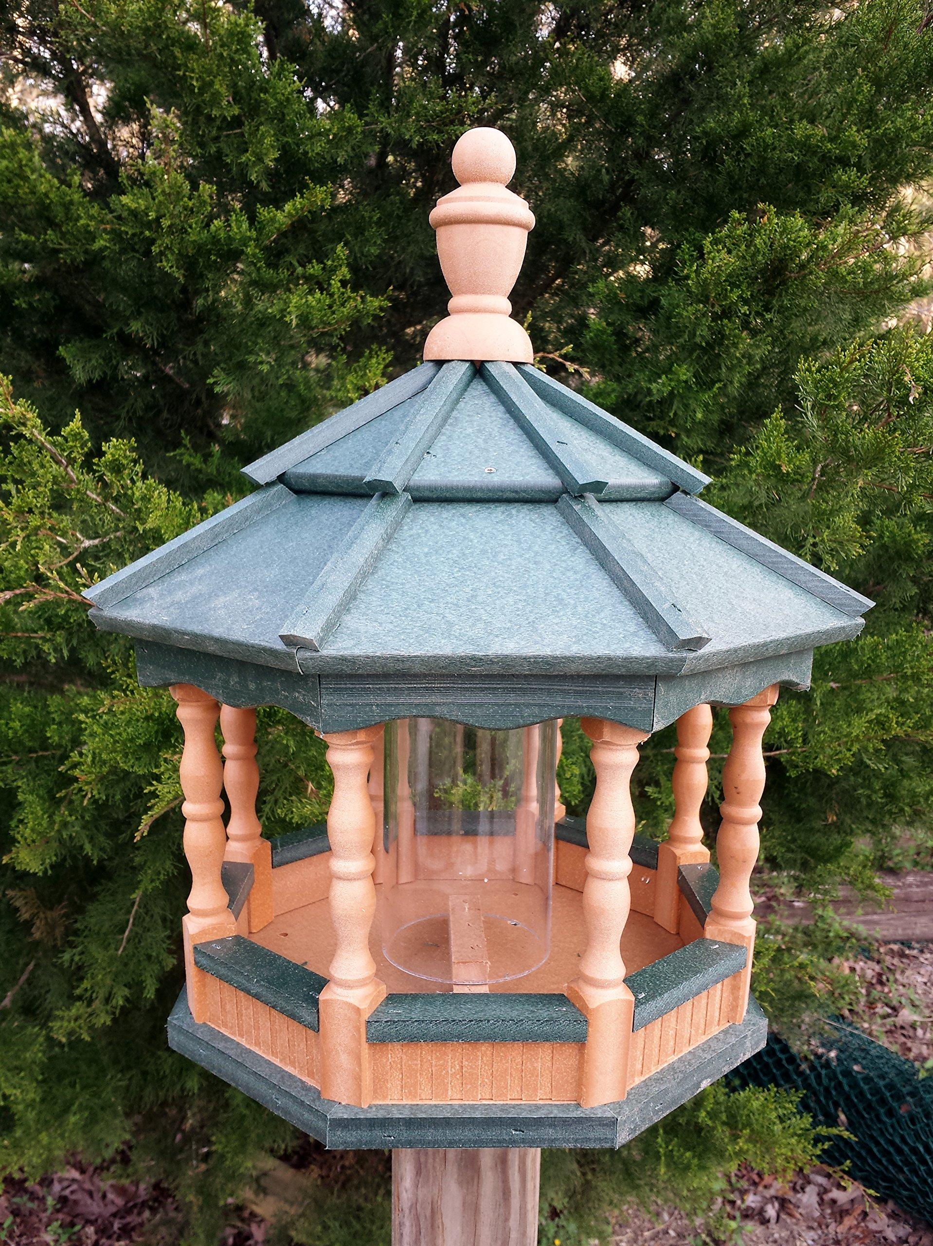 Poly Bird Feeder Amish Gazebo Handcrafted Homemade Medium Cedar / Green Roof