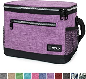 OPUX Premium Lunch Box, Insulated Lunch Bag for Women Adult   Durable School Lunch Pail for Girls, Kids   Soft Leakproof Medium Lunch Cooler Tote for Work Office   Fits 8 Cans (Heather Purple)