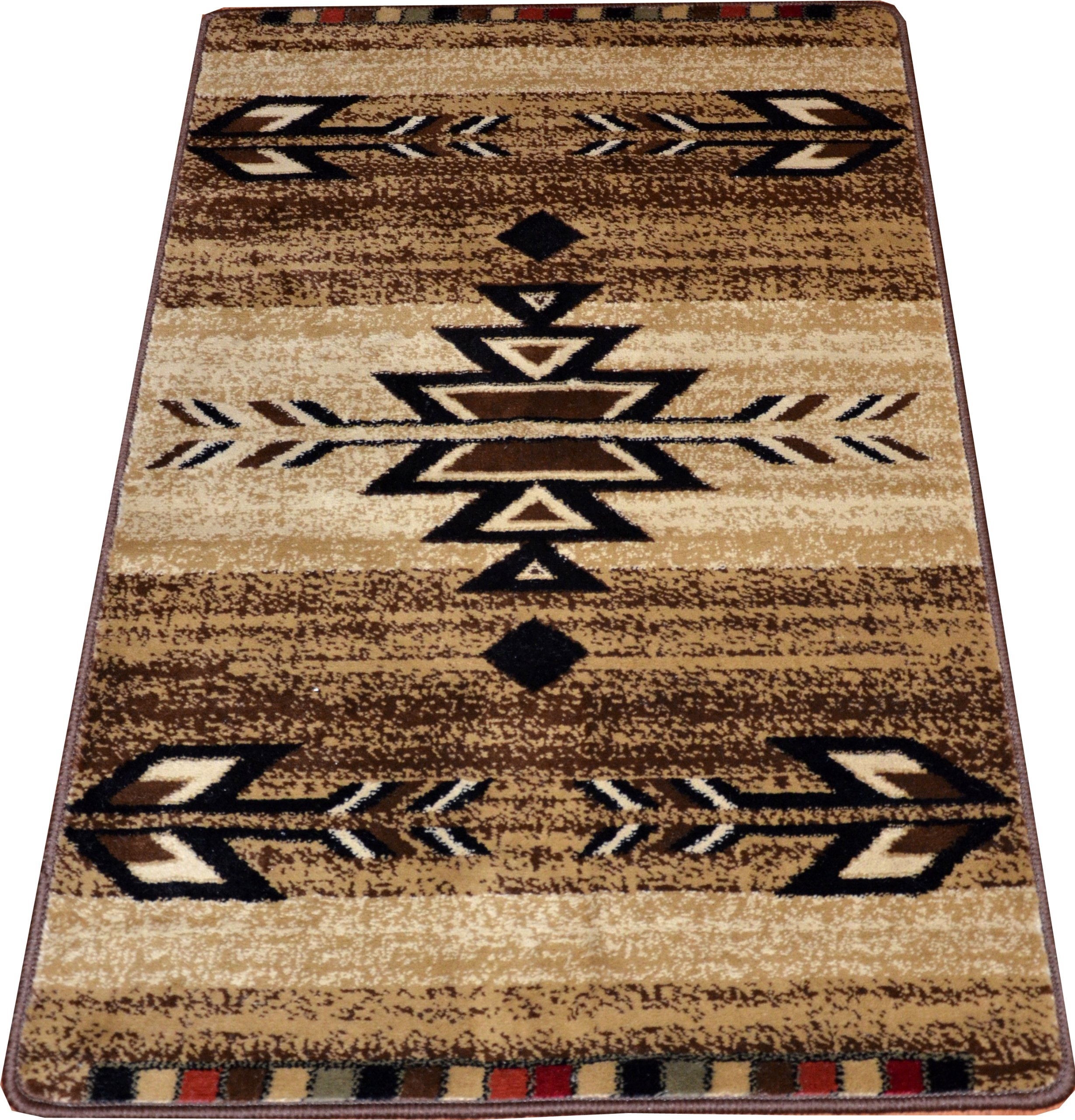 "Dean Santa Fe Beige Southwestern Lodge Cabin Carpet Rug Runner Mat, Size: Approximately 50"" x 31"" - Unique Southwestern, lodge, cabin design Warm, plush, and comfortable under foot Dean Flooring Company exclusive! - runner-rugs, entryway-furniture-decor, entryway-laundry-room - A1dS3fiQUFL -"