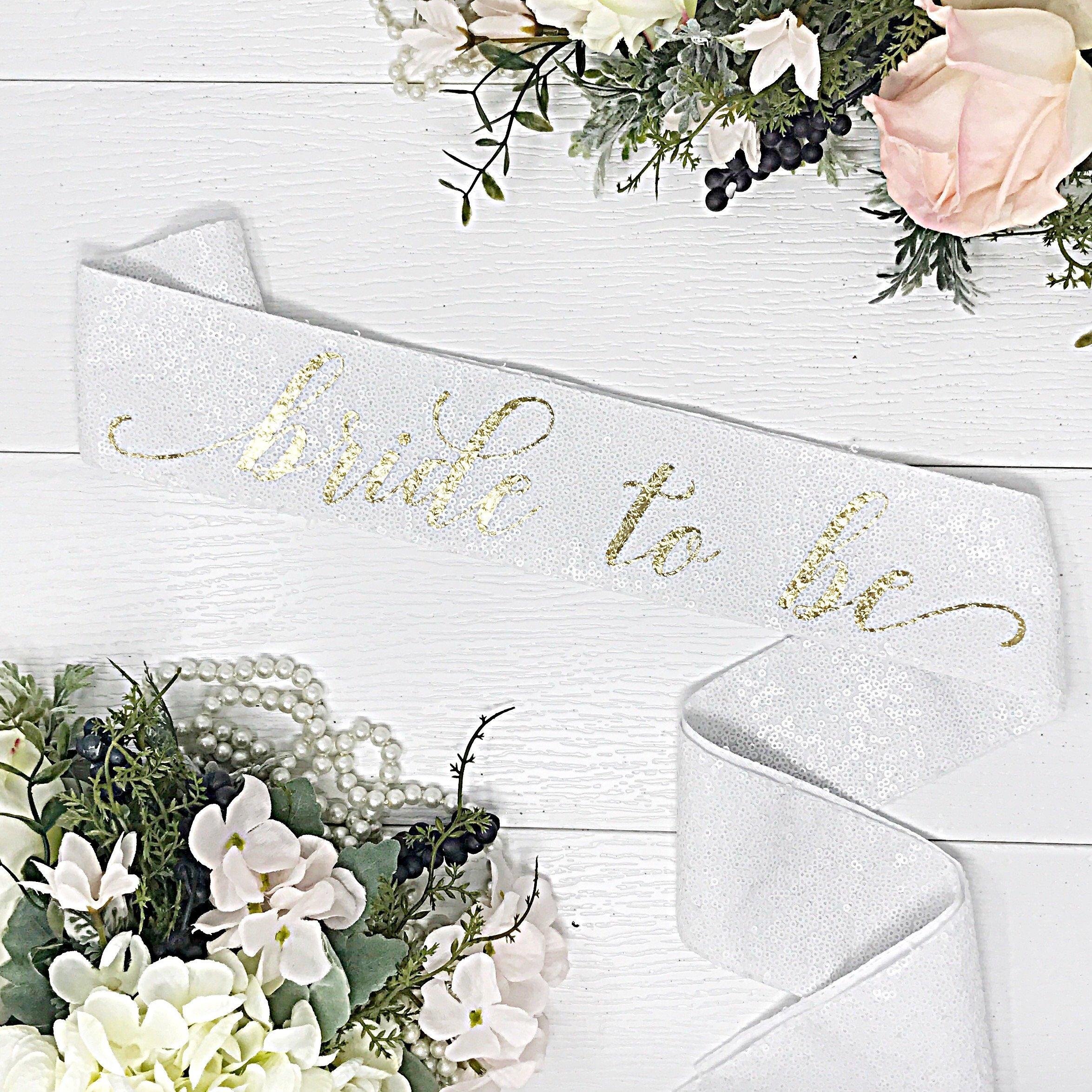 White Sequin Bachelorette Sash - White Bridal Sash - White Sequin