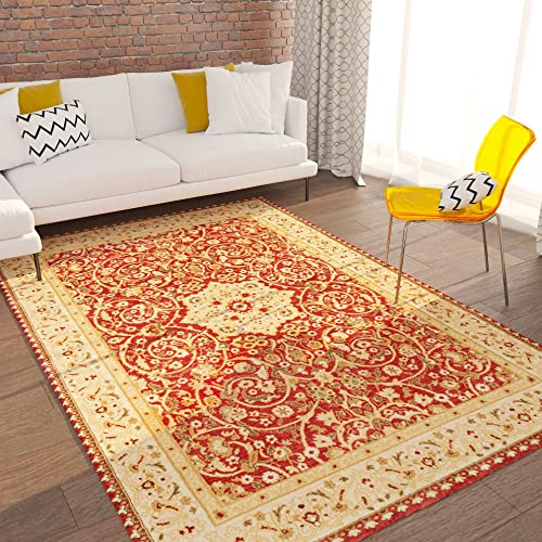 Home Way Turkish Antique Royalty Design Traditional Floral Red Carpet Eclectic for Modern and Classic Interiors Oriental 8×10 7 10 x 9 10 Area Rug