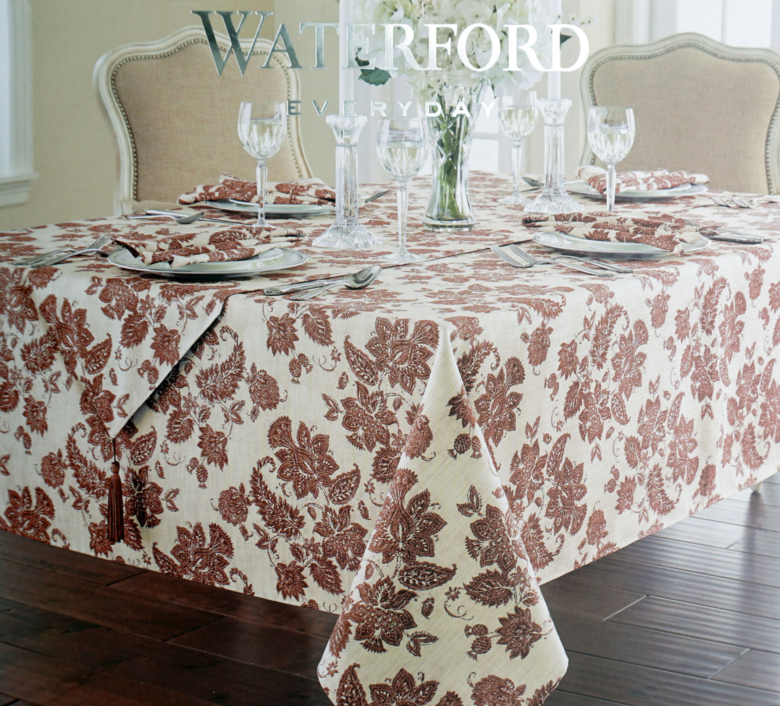 Waterford Everyday Easy Care Stain Resistant Cotton Fabric Tablecloth Rust Red Floral Pattern on Cream -- Regan Cinnamon, 60 Inches by 84 Inches by Waterford Linens