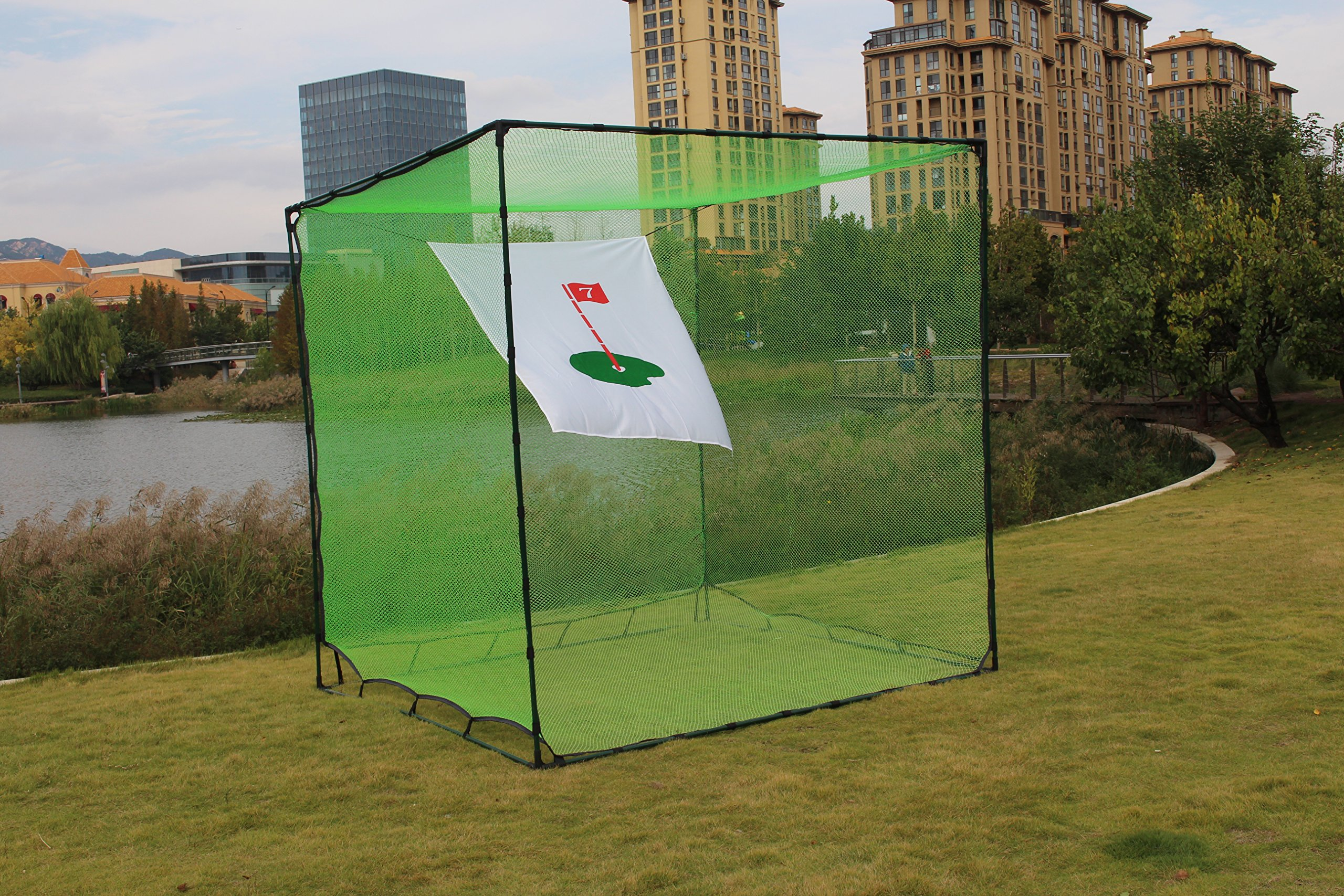 Galileo 10'x 10' x10' nylon golf cage  practice driving indoor and outdoor golf net  high impact double back stop and target golf training aids/automatic ball return