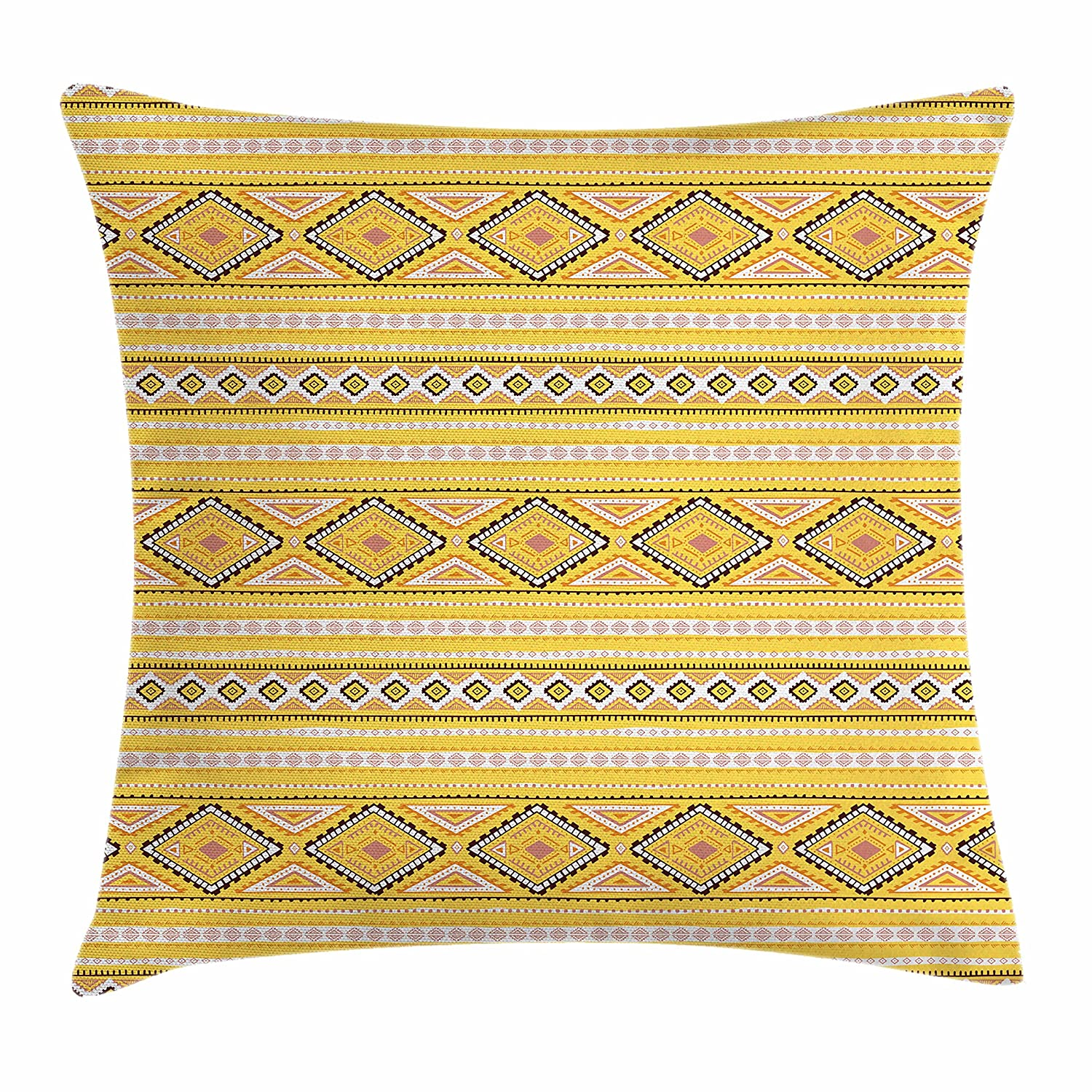 Amazoncom Ambesonne Yellow And White Throw Pillow Cushion Cover