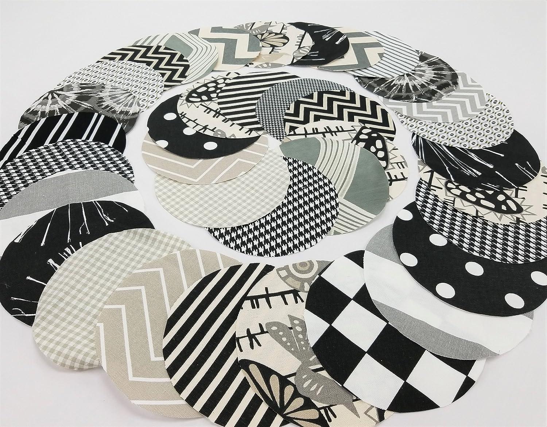 Black Greige Mix Jar Topper Set, 3 Dozen (36), Handcrafted Fabric Circles YoYo
