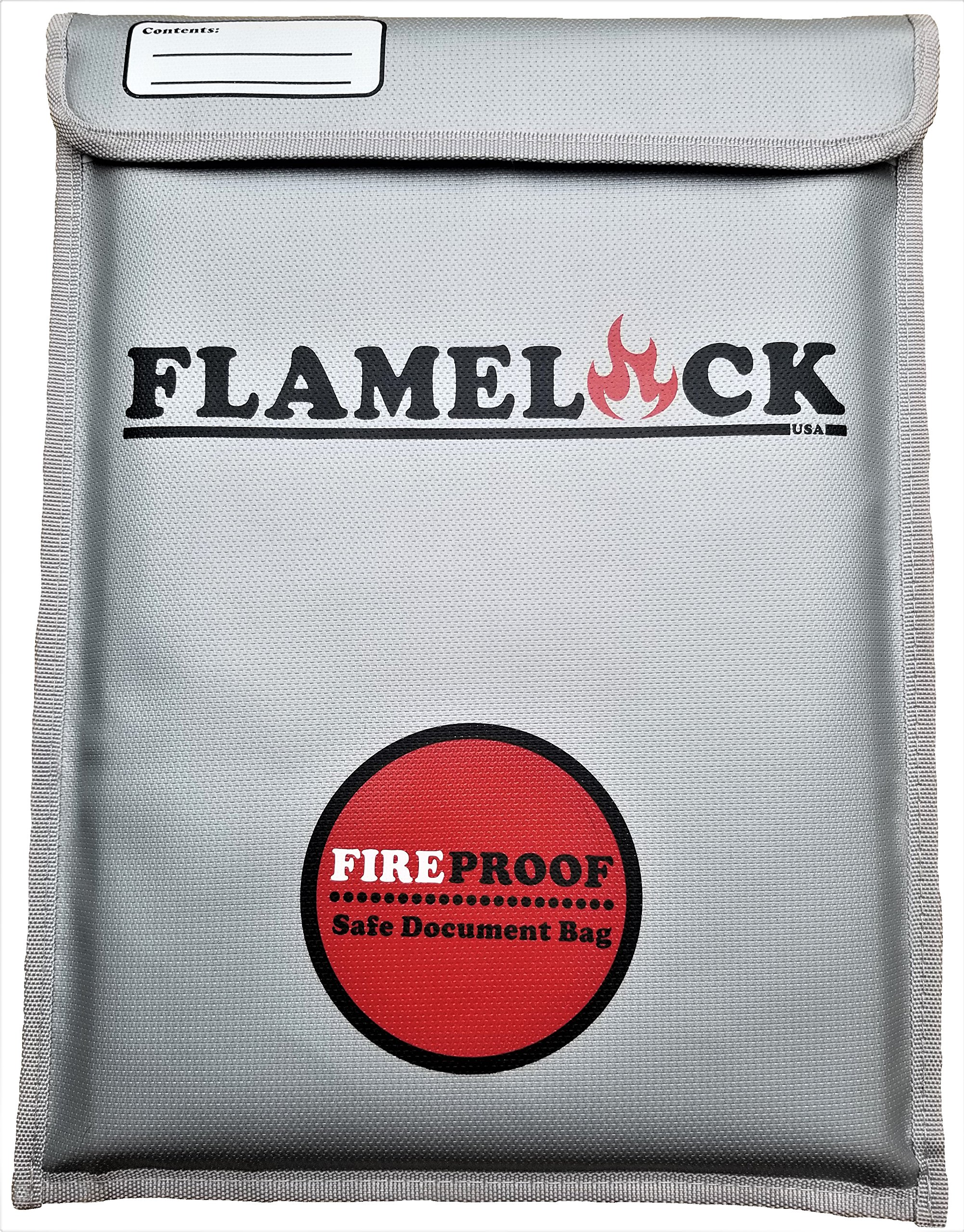 FLAMELOCK - Fireproof Document Bag 15'' x 11'' Non-Itchy Silicone Coated Fire Resistant Money Bag Fireproof Safe Storage for Money, Deeds, Titles, Documents, Jewelry and Passports.
