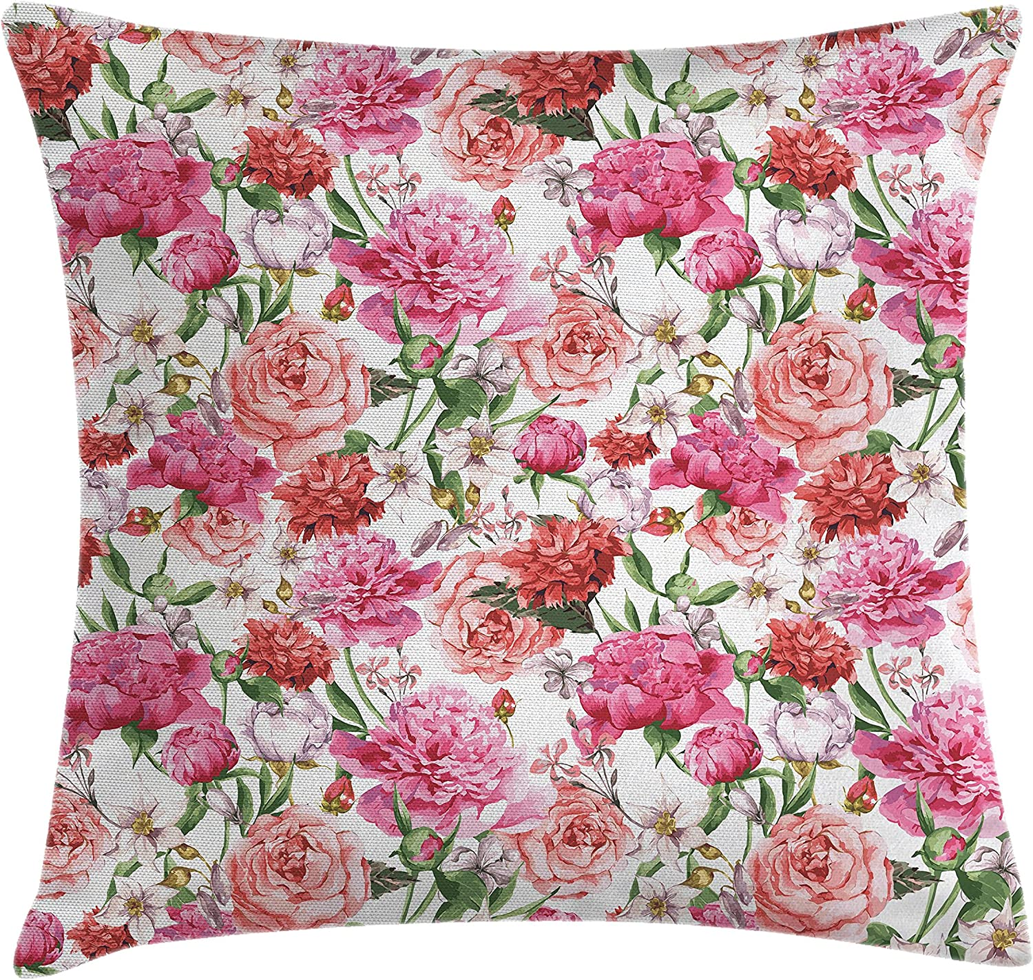 Ambesonne Watercolor Flower Throw Pillow Cushion Cover Victorian Floral Pattern Painting Style Print With Peonies And Roses Decorative Square Accent Pillow Case 18 X 18 White Rose Home Kitchen