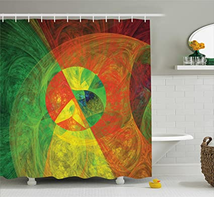 Ambesonne Psychedelic Shower Curtain Abstract Artistic Surreal Fractal Dreamlike Fantasy Harmony Of Color Theme