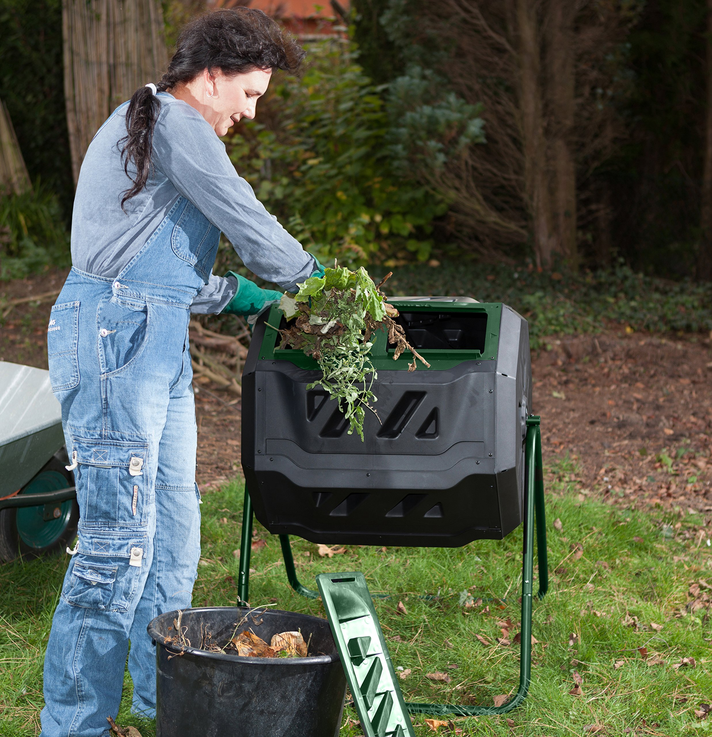 Exaco Trading Company Exaco Mr.Spin Compost Tumbler - 160 Liters / 43 Gallon, Dual Chamber Composter On Two-Leg Stand by Exaco Trading Company (Image #2)