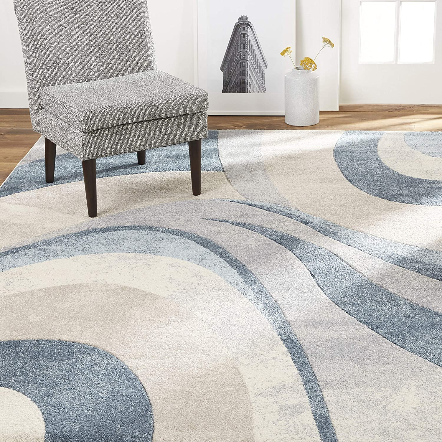 "Home Dynamix Tribeca Slade Modern Area Rug, Abstract Blue 5'2""x7'2"""