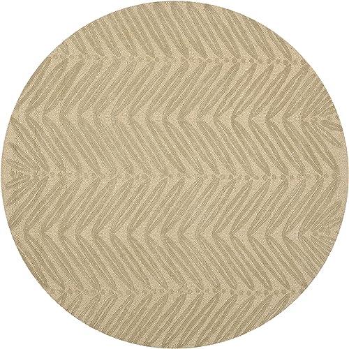 Martha Stewart Safavieh Collection MSR3612B Premium Wool and Viscose Chevron Leaves Oolong Tea Green Area Rug 6 Diameter