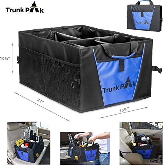 Collapsible Car Organizer All Types Vehicles Blue /& Black Heavy Duty Fabric Steady Cardboard TRUNKPAK Trunk Organizer 5 Compartments Vehicle Storage /& Car Trunk Box Auto Home Use