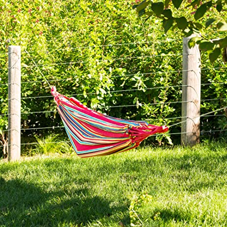 Outdoor Nation Comfortable Hanging Cotton Nylon Mesh Rope Hammock