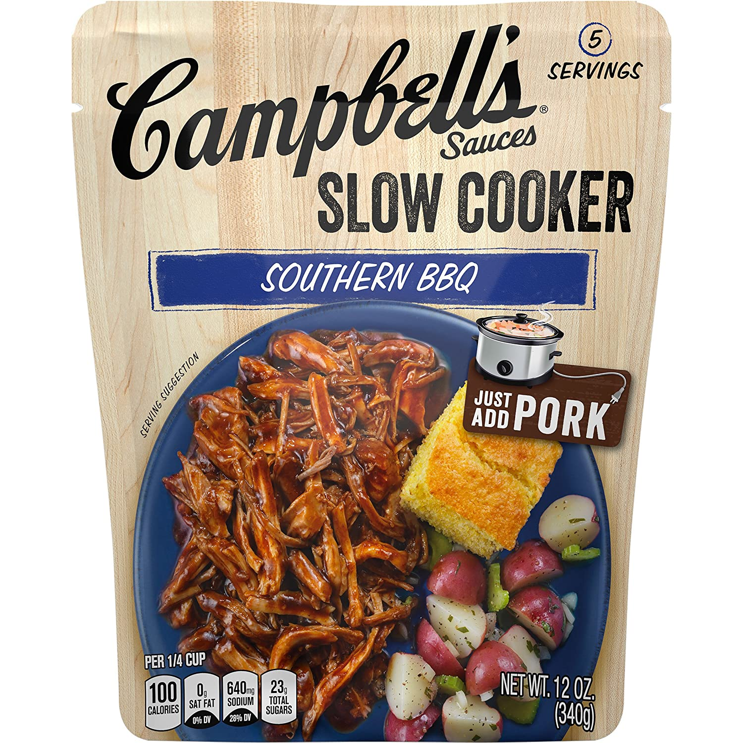 Campbell's Slow Cooker Sauces Southern BBQ, 12 oz. Pouch (Pack of 6)