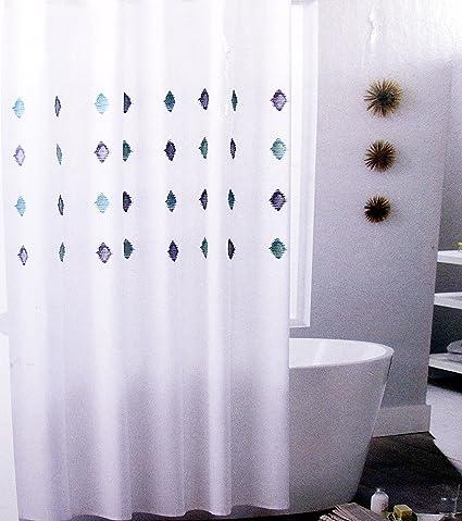 Threshold Blue Aqua IKAT Shower Curtain