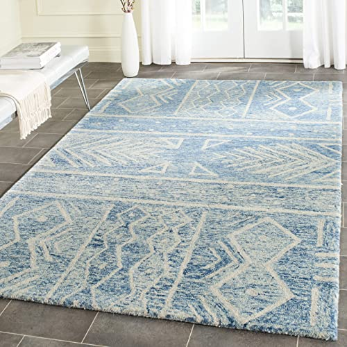 Safavieh Chatham Collection CHT764B Handmade Blue and Ivory Premium Wool Area Rug 4 x 6