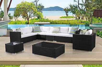 Superbe Velago Generoso 7 Piece Outdoor Patio Sectional Set, 12 X 8 Ft, Charcoal