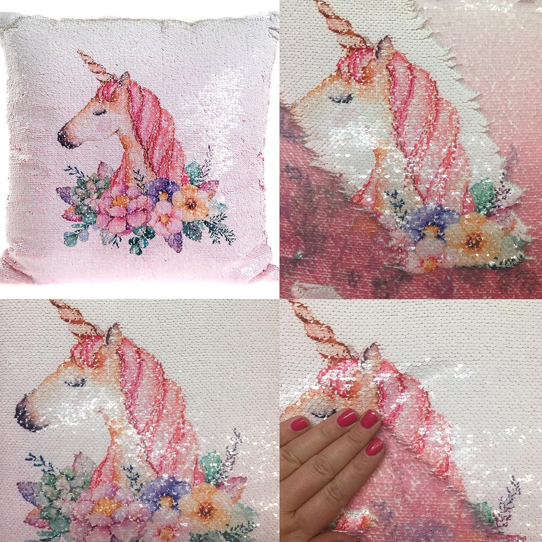 40cm Pink Magic Sequin Reversible Unicorn Cushion Lesser & Pavey