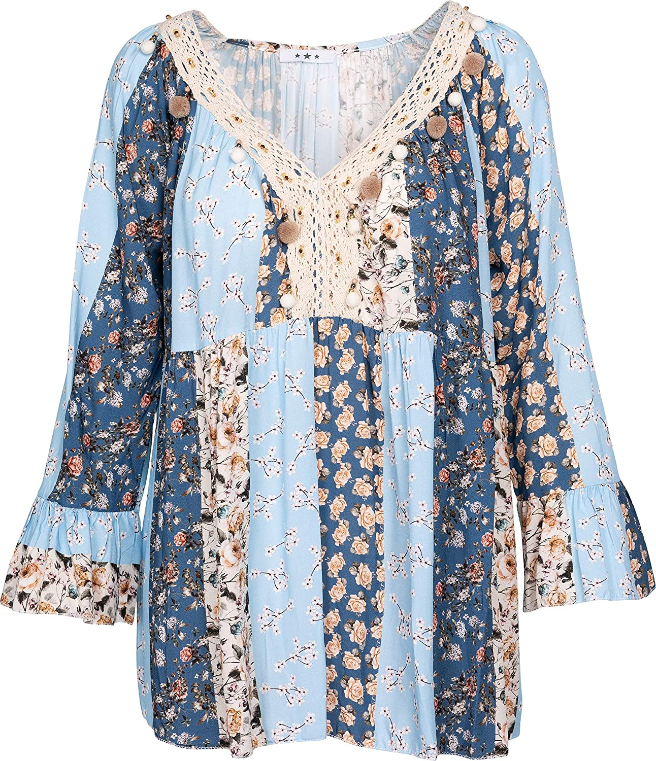 M Made in Italy Womens Long Sleeve Printed Blouse Blouse Sky Combo