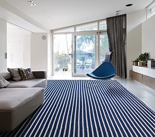 HOMEGNOME Indoor Outdoor Striped Rug 8 x10 Navy Blue