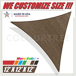 ColourTree 12' x 12' x 12' Brown Sun Shade Sail Triangle Canopy Awning UV Resistant Heavy Duty Commercial Grade,We Make Custom Size