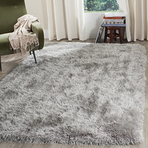 Safavieh Venice Shag Collection SG256S Handmade Silver Polyester Area Rug 4 x 6